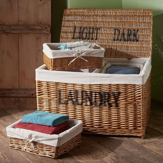 a wicker chest with cubbies for storage is ideal for any farmhouse space