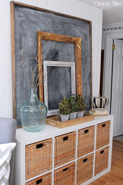 an entryway console with basket cubby shelves is a great farmhouse item to rock