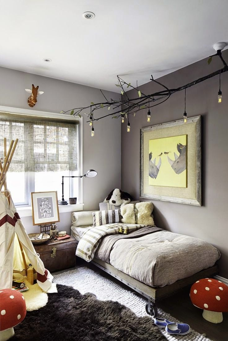 diy celing light fixture of branches is a nice addition to an eclectic kids room