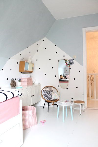 geometric wll decor works well if your kids room is in the attic - Kids Room Wall Decor Ideas