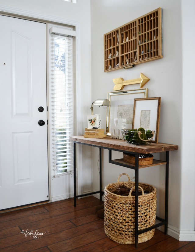 ikea desk turned into a farmhouse style rough console table that could fit any entryway well