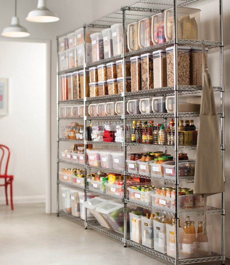 metal shelving units are perfect to organize your food supplies - Storage Design Ideas