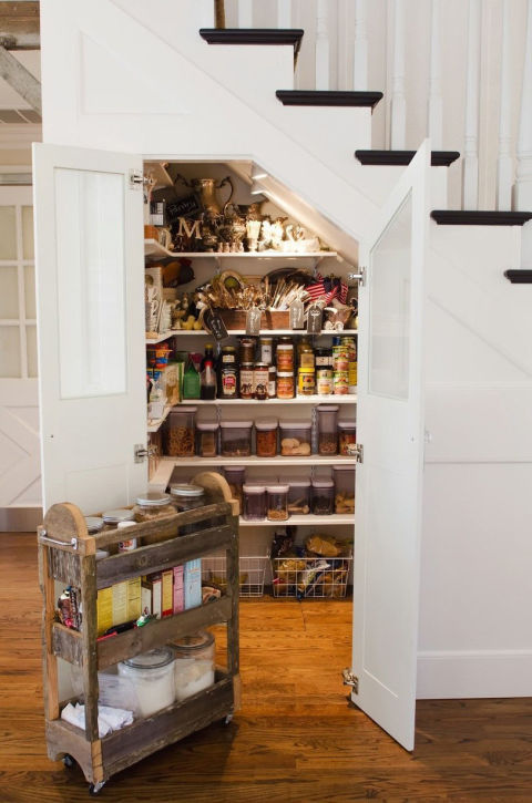 pantry could occupy the space under the stairs
