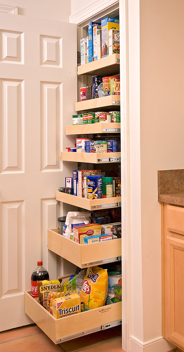 roll-out pantry is a great solution for a small kitchen