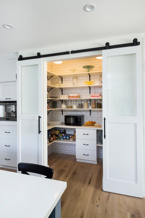 sliding doors can hide your food pantry and make it easy to access - Walk In Pantry Design Ideas