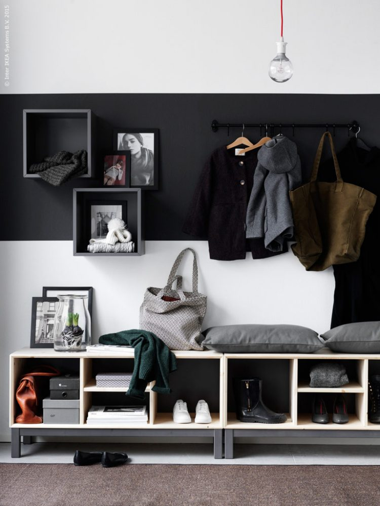 Super Stylish And Modernn Hallway Storage Solution Using Ikea Furntiure