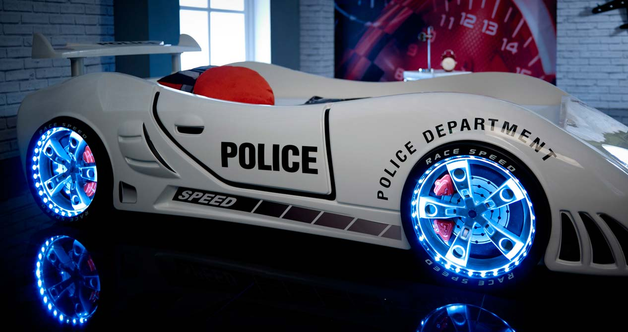white police ar bed with lights would look amazing in a kids room even at night