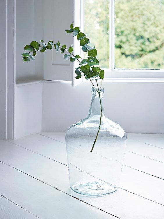 a neutral bottle with eucalyptus is a cool decoration to make your space welcoming and very cool