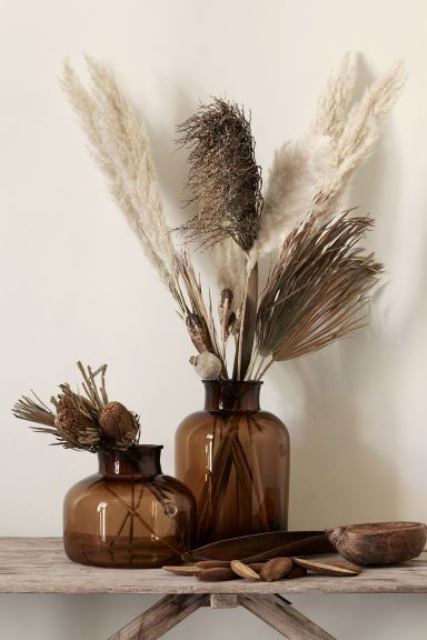 brown apothecary bottles with pampas grass and dried proteas are chic and cool decor for any space