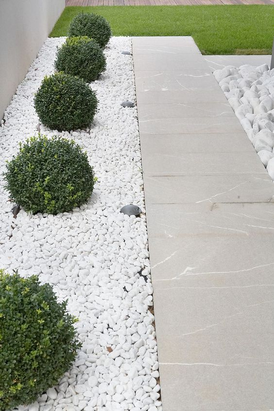 white pebbles covering the greenery growing and stone paths create a serene and polish outdoor look