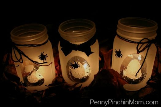 This craft is less than 10 minutes total to make. They look great both during the day and at night but you need frosted glass spray paint for the project. (via www.pennypinchinmom.com)