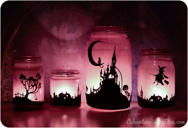 For these easy-to-make lamps you'll need some purple spray paint and paint marker. Print your design, put it in a spray painted jar and trace it with the marker. (via www.adventure-in-a-box.com)
