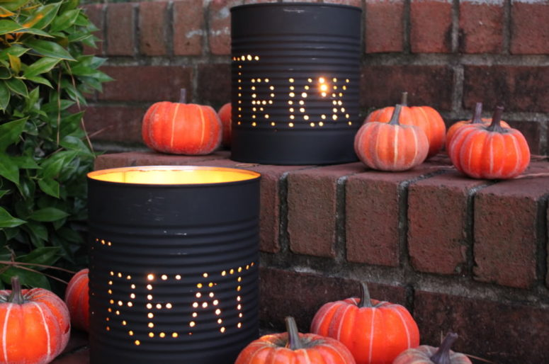 Making luminaries from tin cans is an easy and affordable way to decorate your home for Halloween. You'll need a hammer and a large nail or an awl to punch holes in tin cans, some black paint and tea lights to put inside.  (via www.jollymom.com)