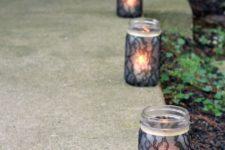 Mason jar luminaries for a pathway