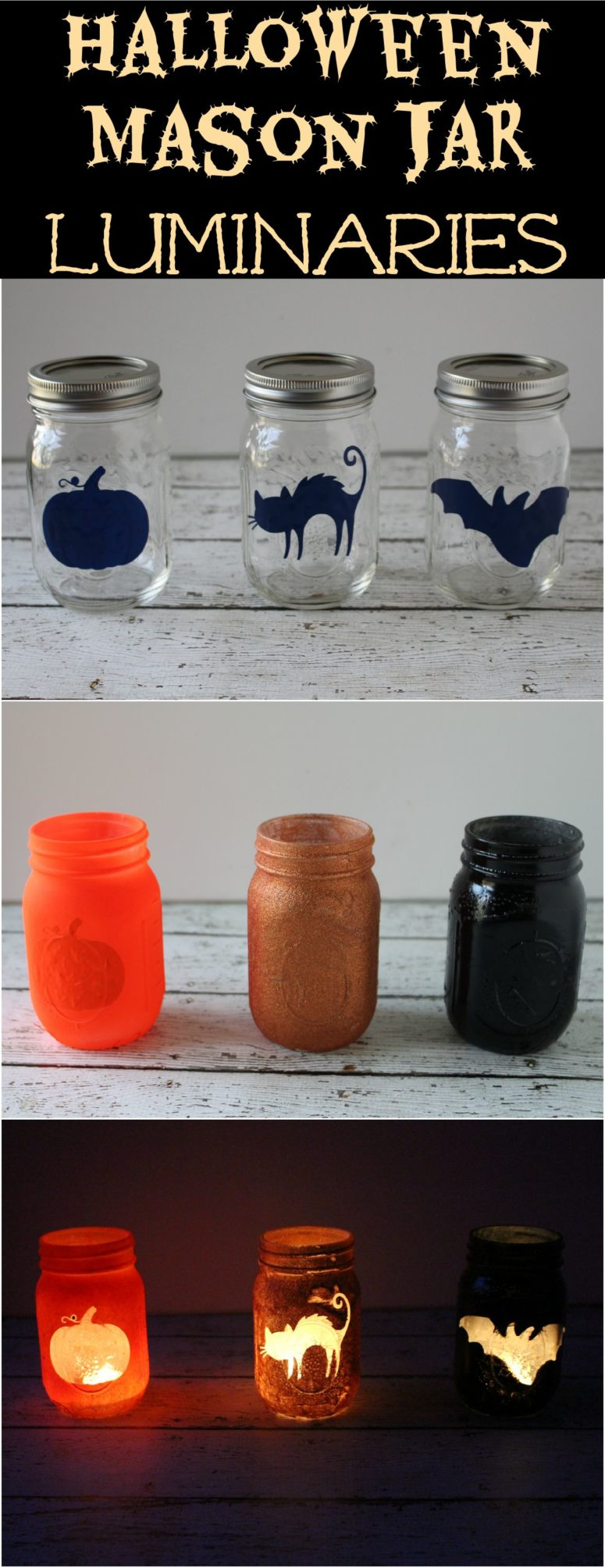 This is a great table decoration but you can line up your porch with them too. Cut out vinyl silhouettes or buy Halloween stickers. Fix them on jars and spray paint these jars. Remove the silhouettes and enjoy! (via princesspinkygirl.com)