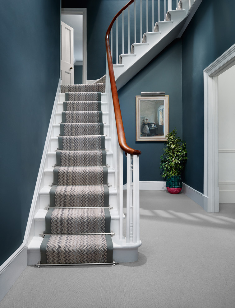 a chevron patterned wool stair runner is a great addition to a contemporary staircase