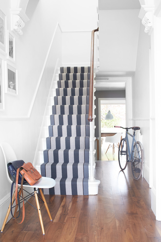 White Spiral Staircase Beige Carpet Runner Decorating Ideas