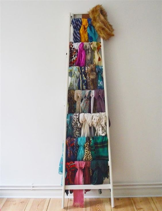dc7babb34ed0b any ladder could become a perfect scarf collection display