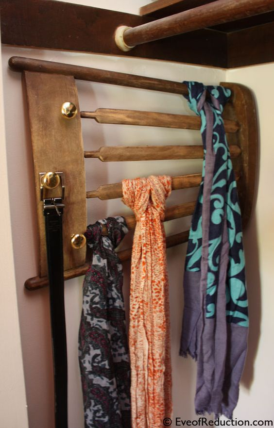 diy scarf organizer from a chair part