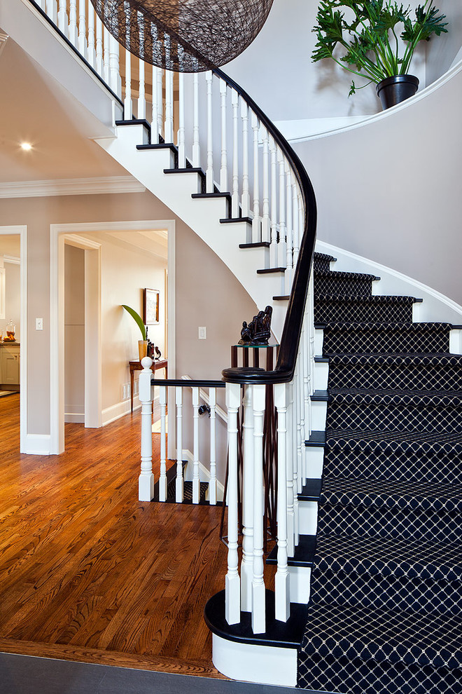 monochrome wool carpet runner is a great addition to a black and white staircase
