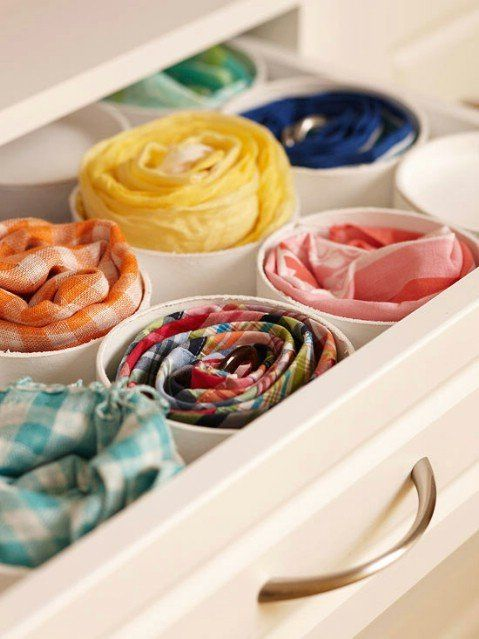 Pvc Pipe Is The Best Way To Organize Scarves In A Drawer