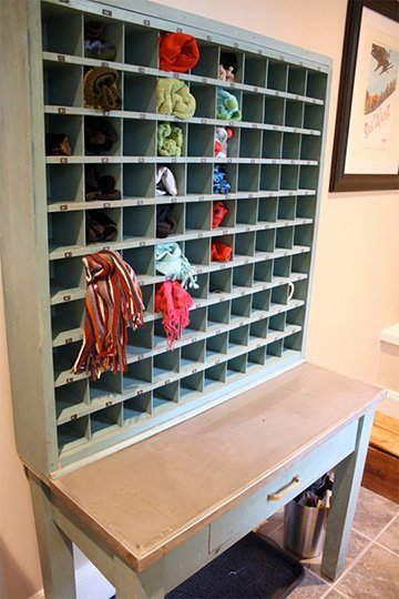 vintage mail sorter is a perfect mudroom organizer