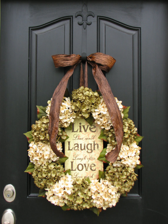 to hang a grapevine wreath on a front door you could use ribbon between 7