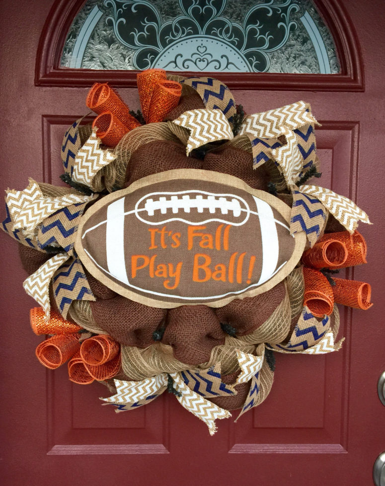 "Cute idea for the burlap ""Play ball!"" wreath."