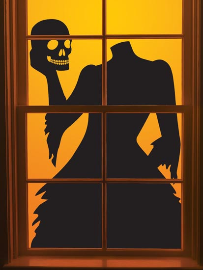 ideas to decorate windows with silhouettes on halloween