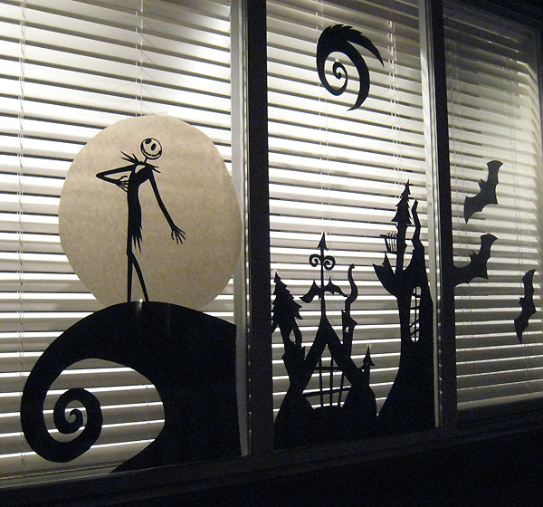 jack skellington window decor idea - Halloween Window Decor