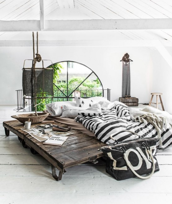 This gorgeous industrial style bed simply amazes (via digsdigs) & 50 Interesting Industrial Interior Design Ideas - Shelterness
