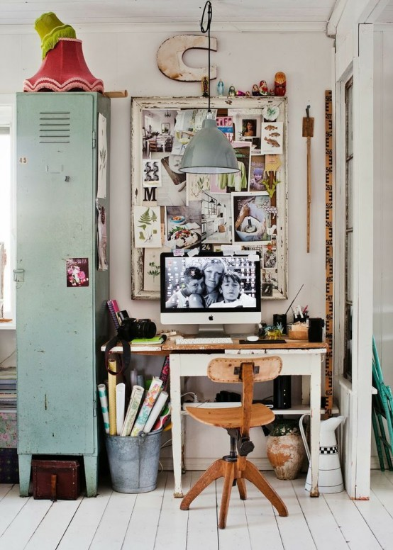 50 Interesting Industrial Interior Design Ideas. Industrial style home office could even be cute & 50 Interesting Industrial Interior Design Ideas - Shelterness