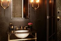 Super moody bathroom designed with several industrial touches