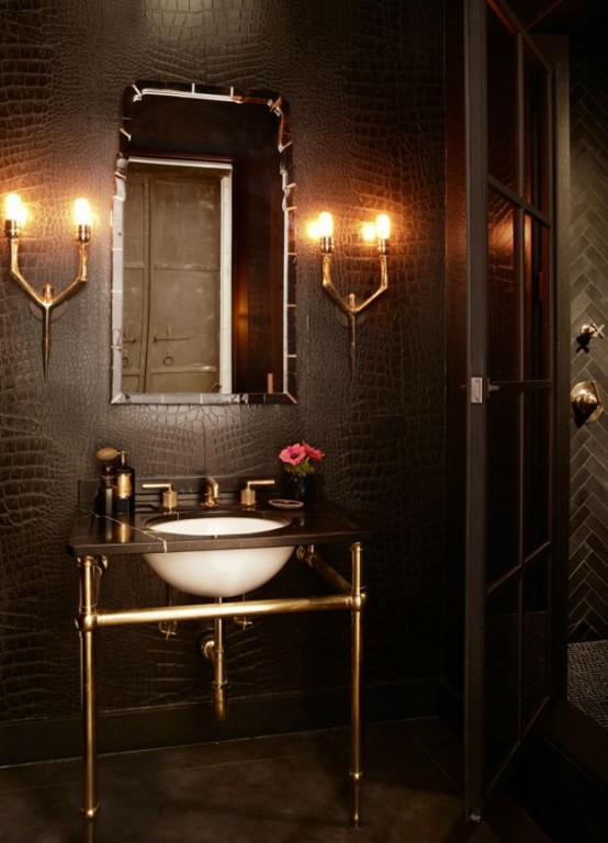 Super moody bathroom designed with several industrial touches (via digsdigs)
