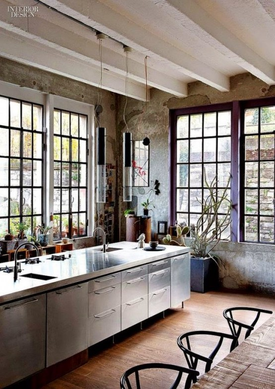 This loft kitchen looks gorgeous like all other rooms (via digsdigs) & 50 Interesting Industrial Interior Design Ideas - Shelterness