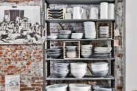 Industrial style shelves are quite popular nowadays