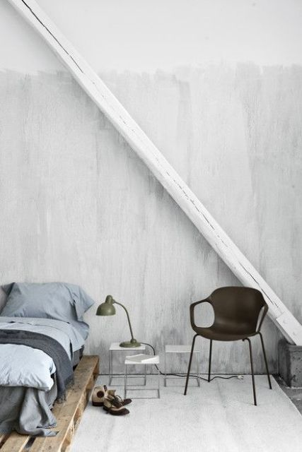This is how you can finish walls in your bedroom if you like industrial style (via digsdigs)