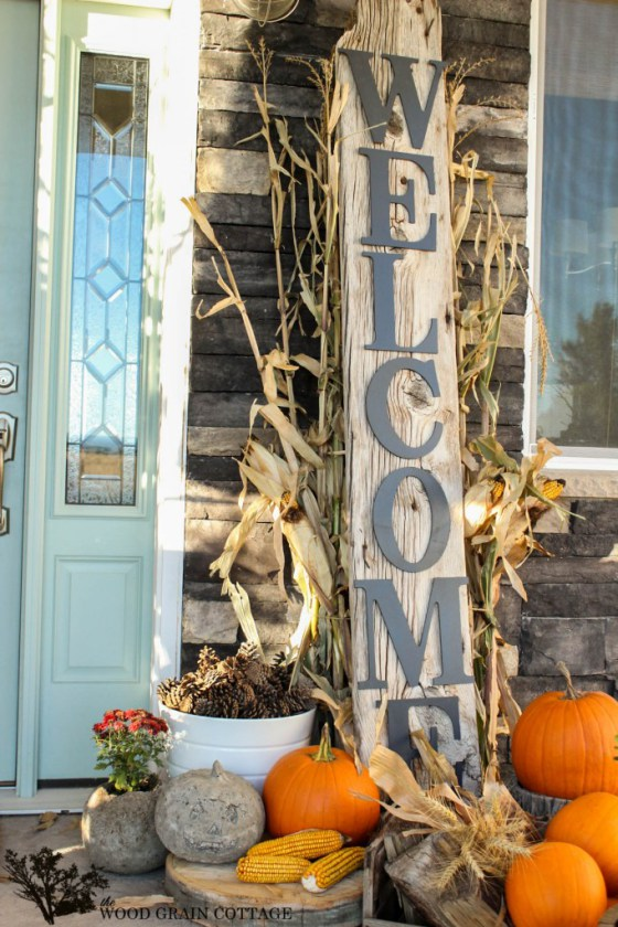 "An oversized ""welcome"" sign would be a great addition to any front porch this fall."