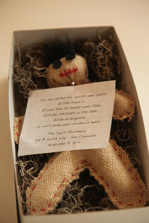a box with hay and a voodoo doll is a very fun and whimsy Halloween party invitation to rock