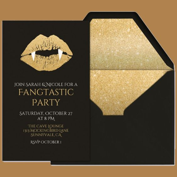 a chic black and gold glitter Halloween party invitation with fangs is a top glam idea to go for