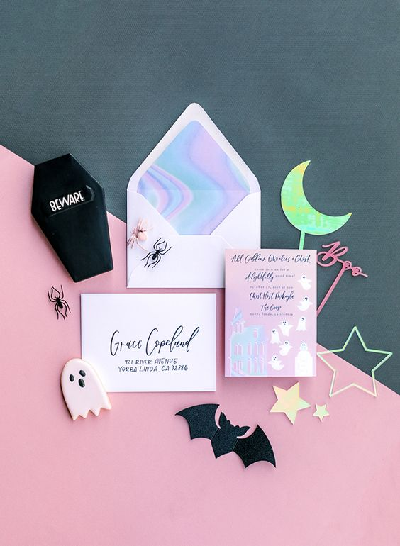 bright and fun Halloween invitations in pink, with ghosts and holographic prints are bold and cool