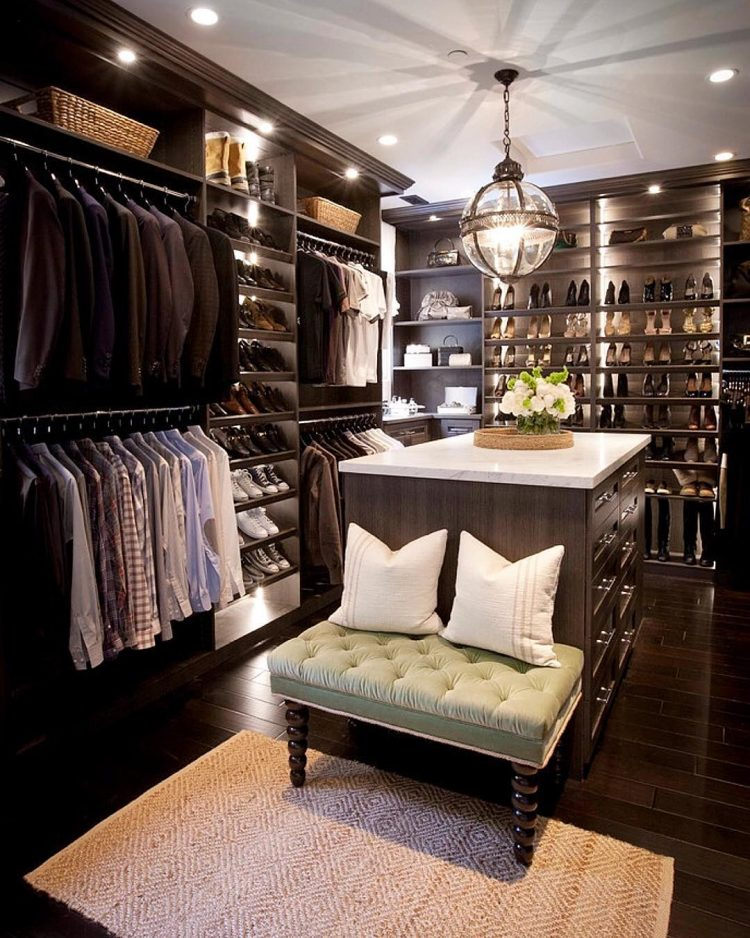dream closet design in moody colors