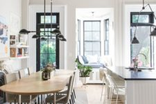 fantastic vintage-inspired molding and trim on the ceiling add chic and a character to the space