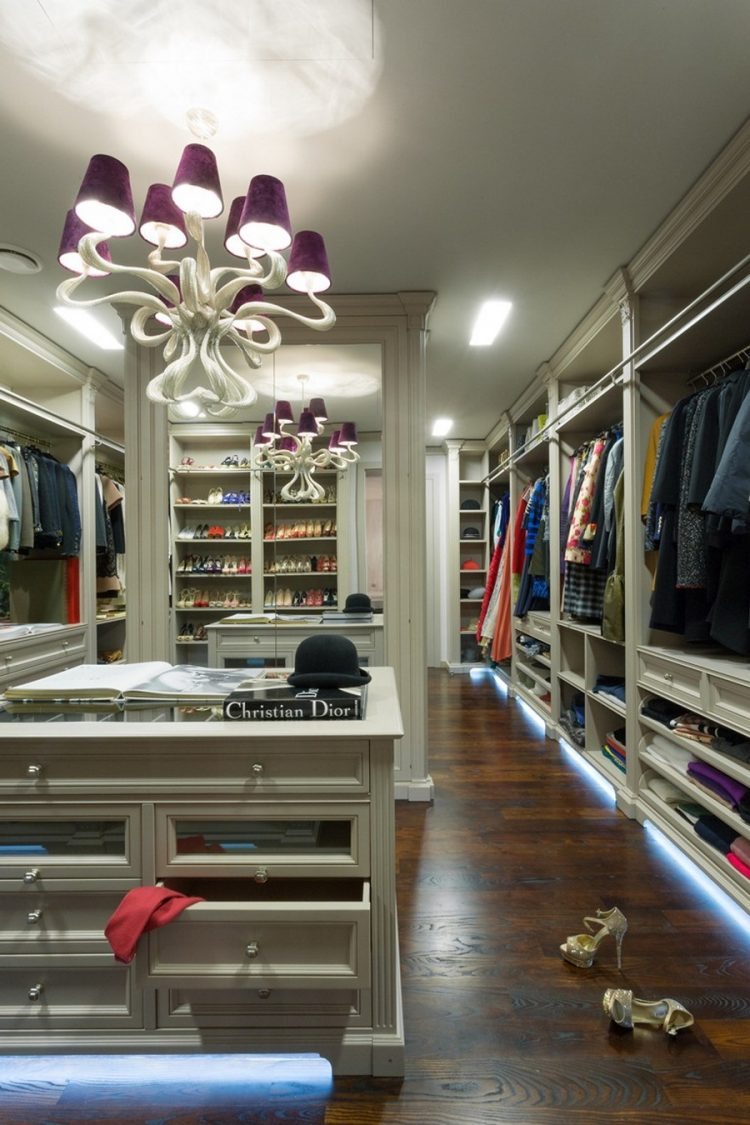 Glazed Cabinetry Is The Centerpiece Of This Extra Large Walk In Closet