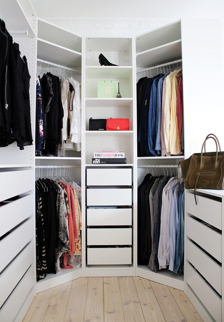 ikea pax system used for a walk-in closet