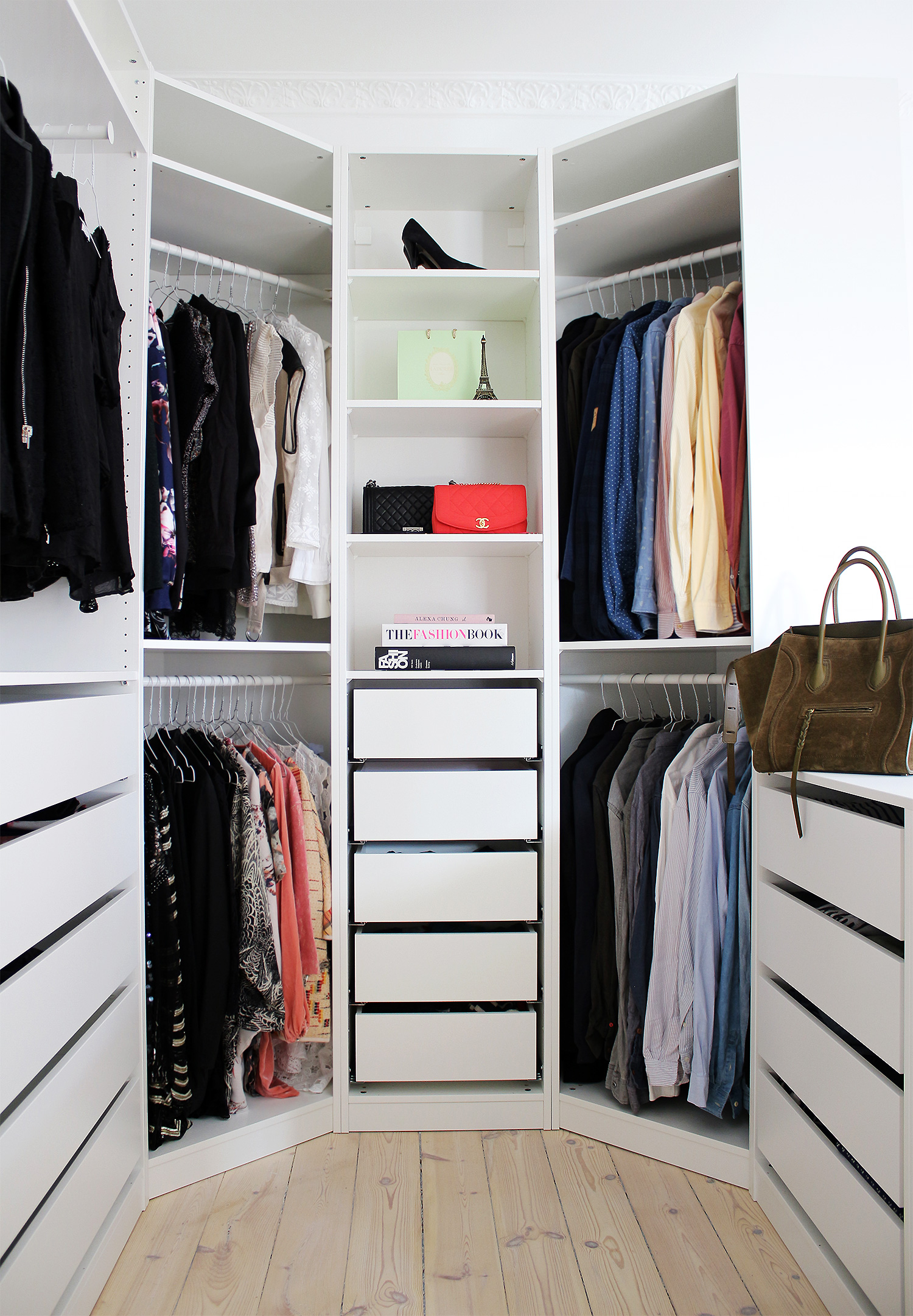 ikea pax system used for a walk in closet