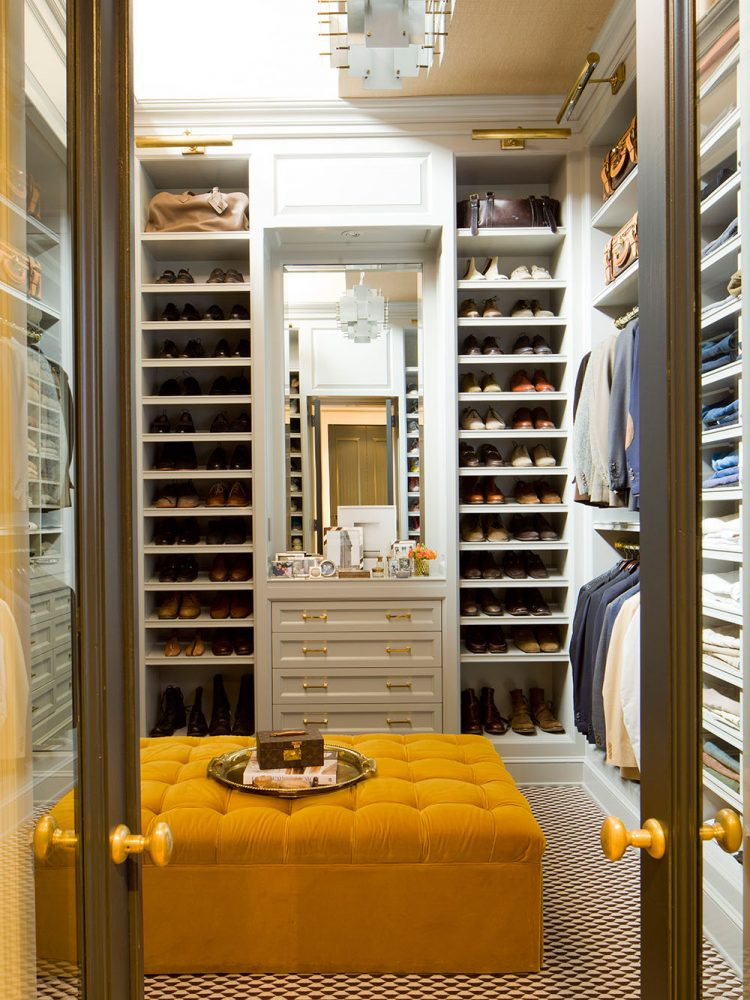 men walk in closet behind transparent doors - Small Walk In Closet Design Ideas