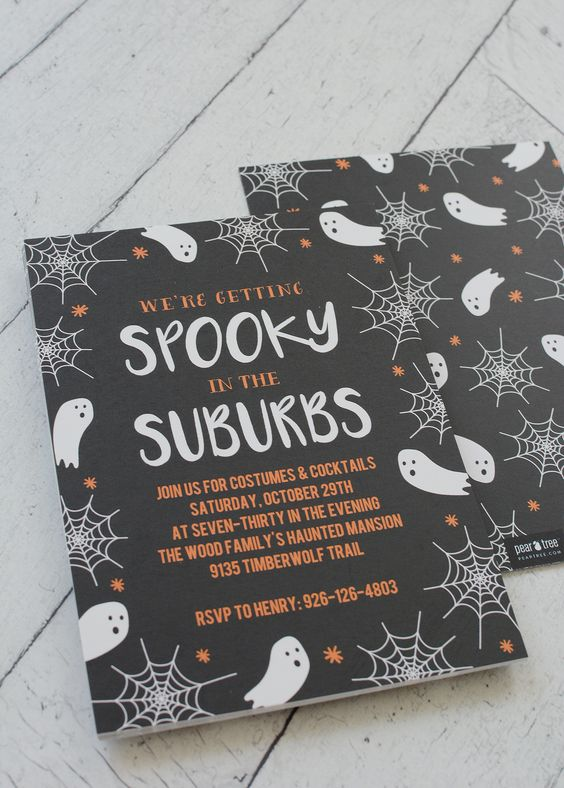 super cool modern Halloween party invitations in black, white and orange, with ghosts and spider webs
