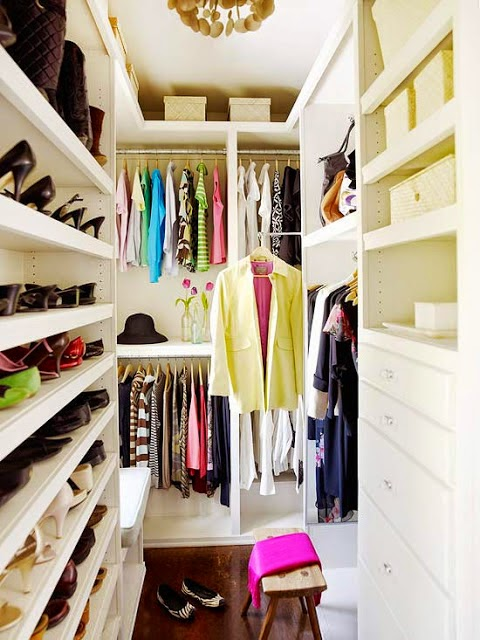 super small walk-in closet with a smart shoe organizer