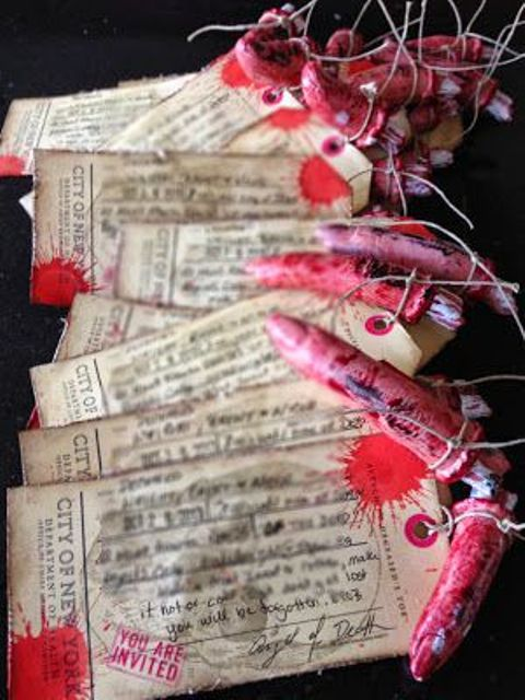 vintage bloody hospital tags with bloody fingers are bold, statement-like and frightening